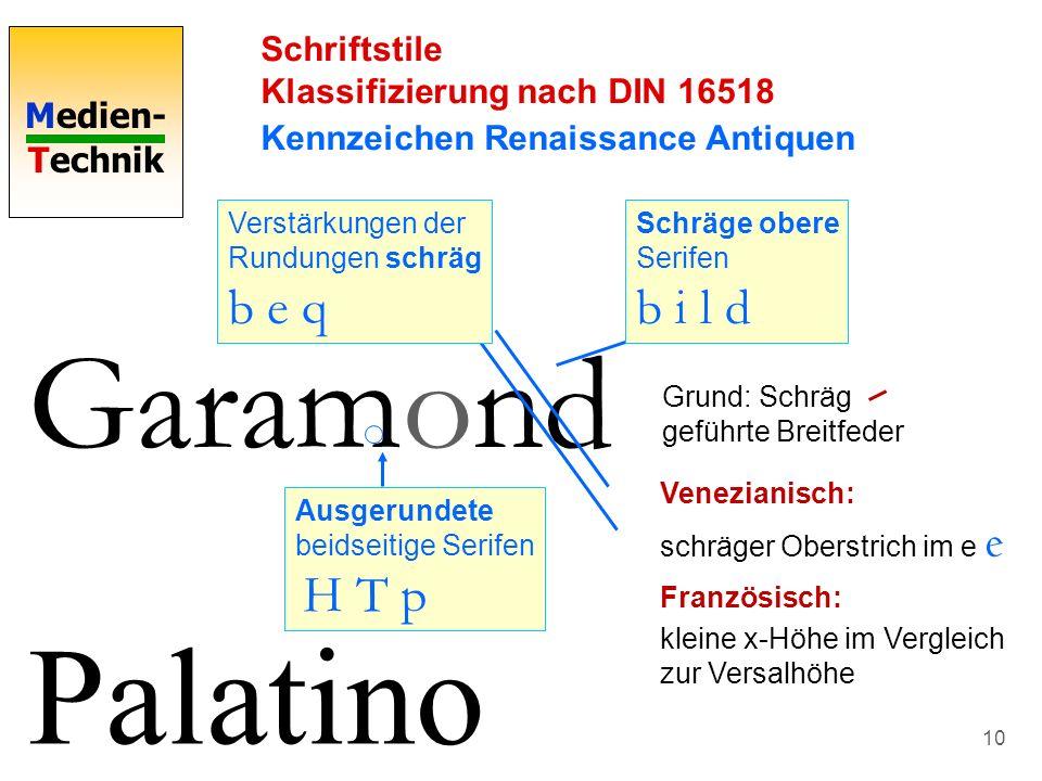 Medien- Technik 10 Schriftstile Klassifizierung nach DIN 16518 Kennzeichen Renaissance Antiquen Garamond Schräge obere Serifen b i l d Verstärkungen d