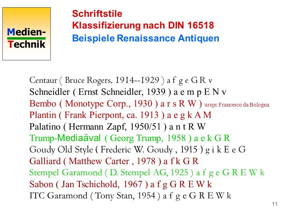 Medien- Technik 11 Schriftstile Klassifizierung nach DIN 16518 Beispiele Renaissance Antiquen Centaur ( Bruce Rogers, 1914--1929 ) a f g e G R v Schne