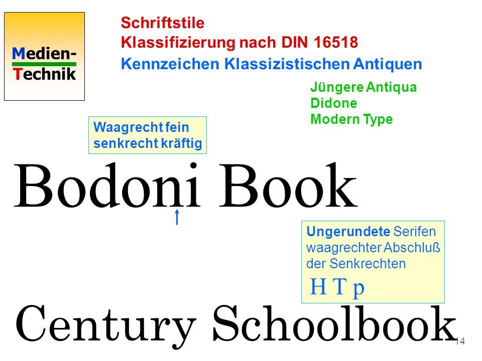 Medien- Technik 14 Schriftstile Klassifizierung nach DIN 16518 Kennzeichen Klassizistischen Antiquen Bodoni Book Waagrecht fein senkrecht kräftig Unge