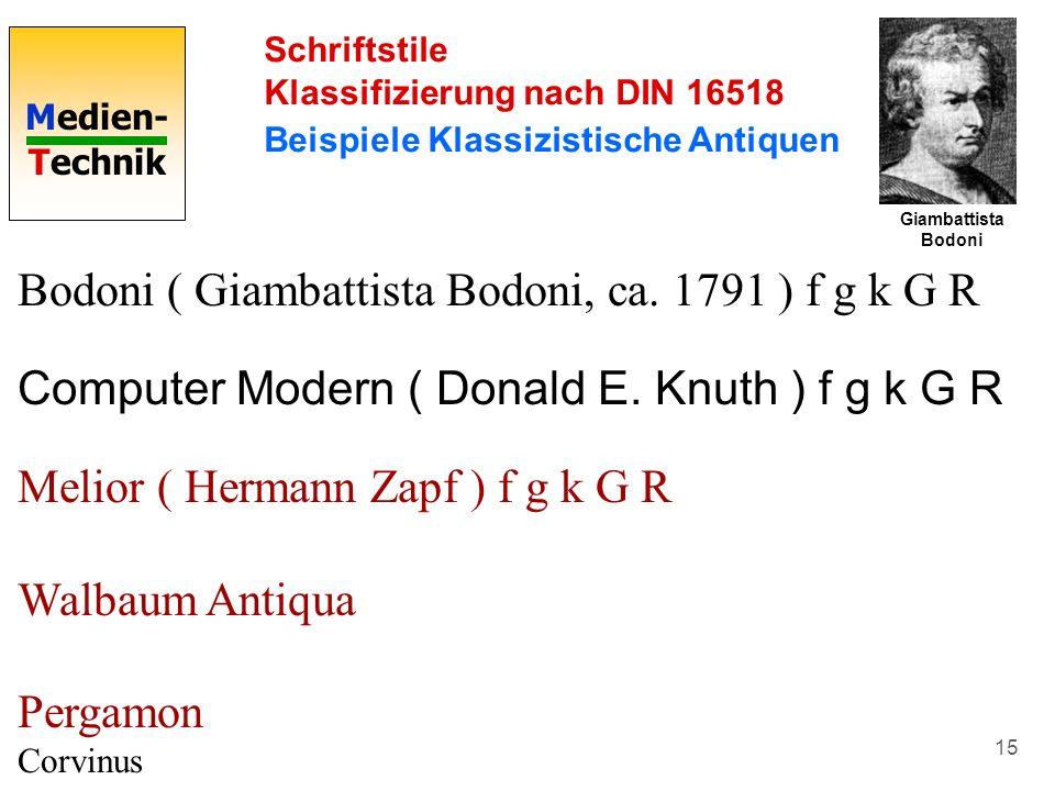Medien- Technik 15 Schriftstile Klassifizierung nach DIN 16518 Beispiele Klassizistische Antiquen Bodoni ( Giambattista Bodoni, ca. 1791 ) f g k G R C