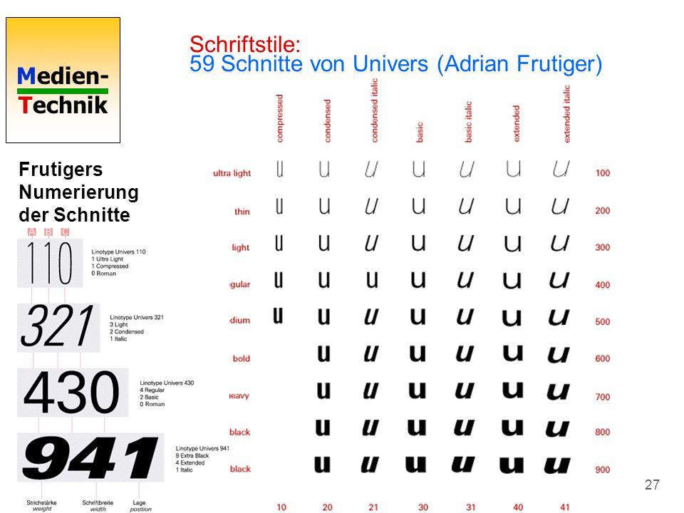 Medien- Technik 27 Schriftstile: 59 Schnitte von Univers (Adrian Frutiger) Frutigers Numerierung der Schnitte