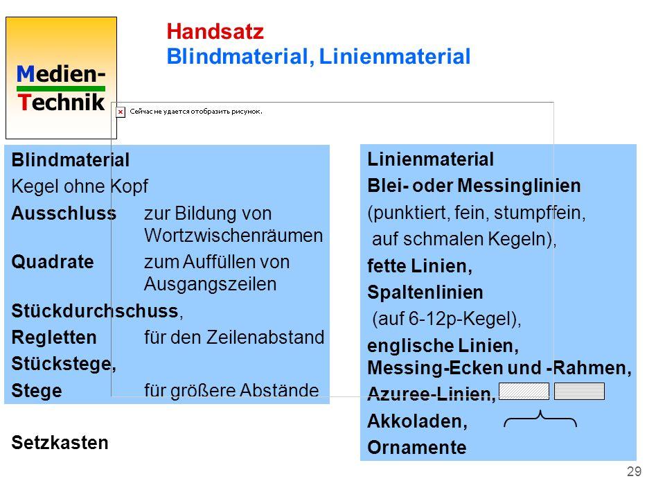Medien- Technik 29 Handsatz Blindmaterial, Linienmaterial Blindmaterial Kegel ohne Kopf Ausschlusszur Bildung von Wortzwischenräumen Quadratezum Auffü