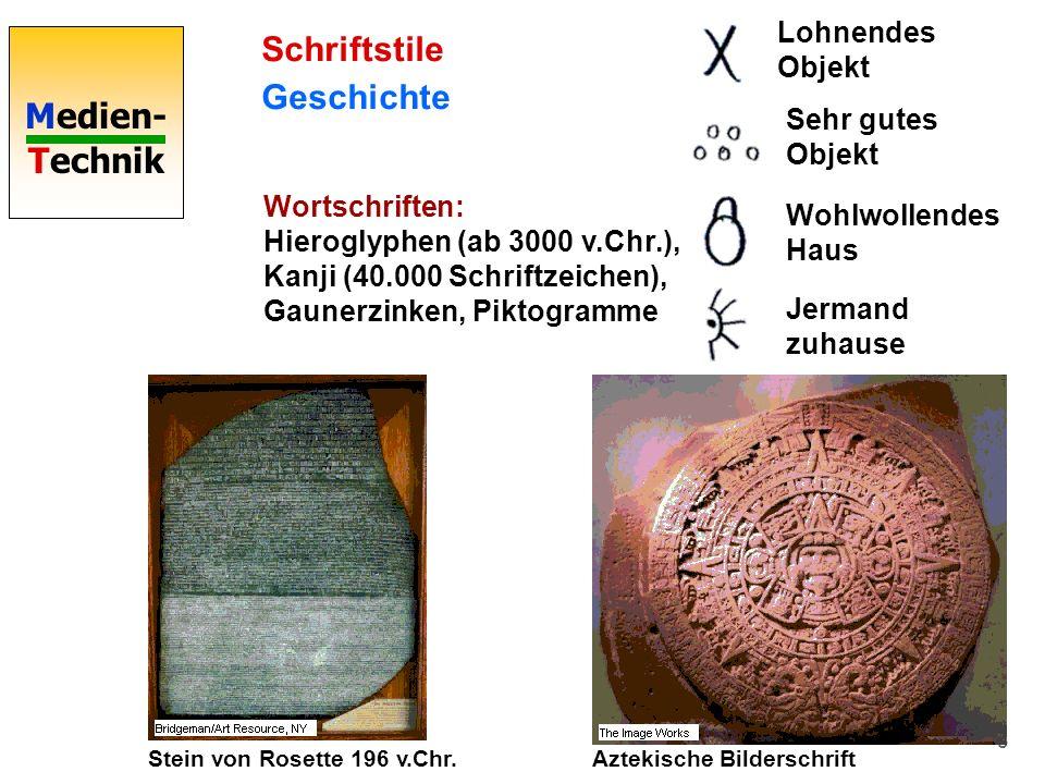Medien- Technik 3 Schriftstile Geschichte Wortschriften: Hieroglyphen (ab 3000 v.Chr.), Kanji (40.000 Schriftzeichen), Gaunerzinken, Piktogramme Stein