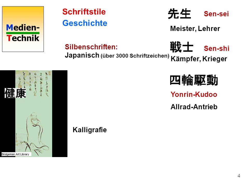 Medien- Technik 4 Schriftstile Geschichte Silbenschriften: Japanisch (über 3000 Schriftzeichen) Meister, Lehrer Sen-shi Sen-sei Kämpfer, Krieger Yonri