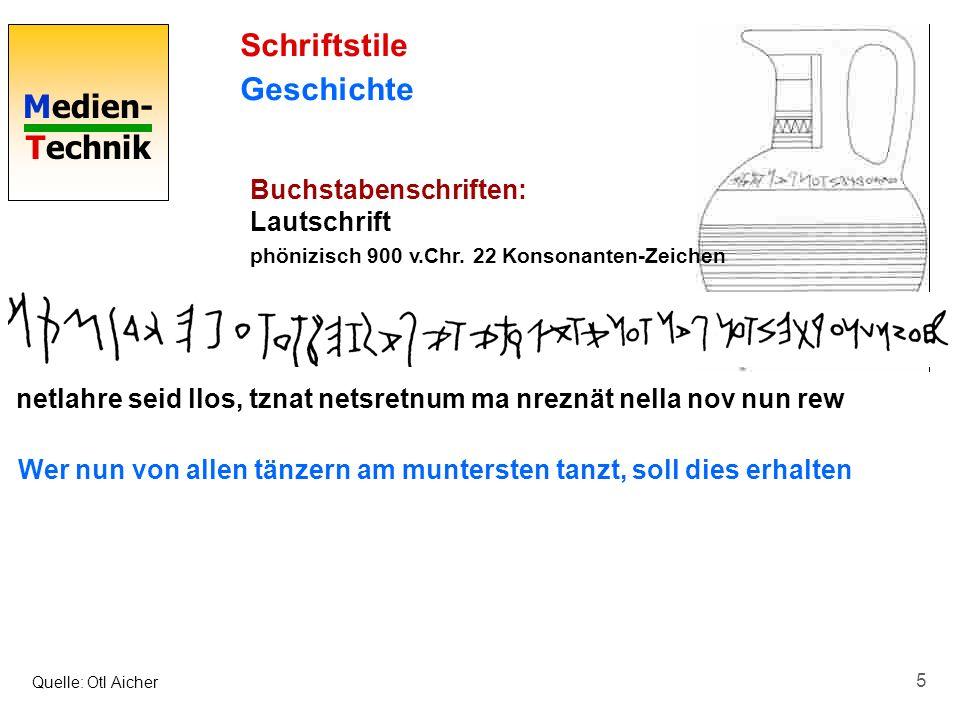 Medien- Technik 5 Schriftstile Geschichte Buchstabenschriften: Lautschrift phönizisch 900 v.Chr. 22 Konsonanten-Zeichen Quelle: Otl Aicher netlahre se