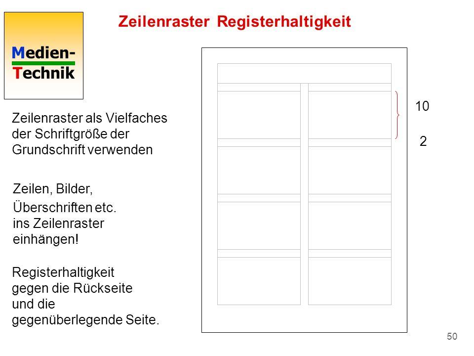 Medien- Technik 50 Zeilenraster Registerhaltigkeit Zeilenraster als Vielfaches der Schriftgröße der Grundschrift verwenden 10 2 Zeilen, Bilder, Übersc