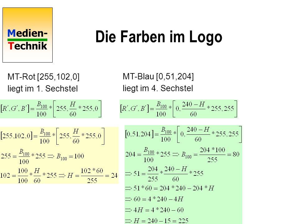 Medien- Technik Die Farben im Logo MT-Rot [255,102,0] liegt im 1.