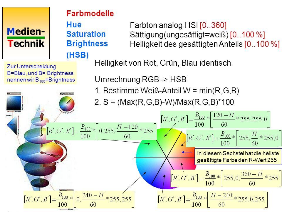 Medien- Technik Farbmodelle Hue Saturation Brightness (HSB) Farbton analog HSI [0..360] Sättigung(ungesättigt=weiß) [0..100 %] Helligkeit des gesättigten Anteils [0..100 %] Helligkeit von Rot, Grün, Blau identisch Umrechnung RGB -> HSB 1.