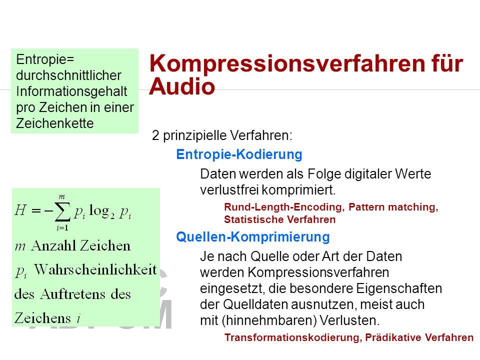 Kompressionsverfahren für Audio 2 prinzipielle Verfahren: Entropie-Kodierung Daten werden als Folge digitaler Werte verlustfrei komprimiert.