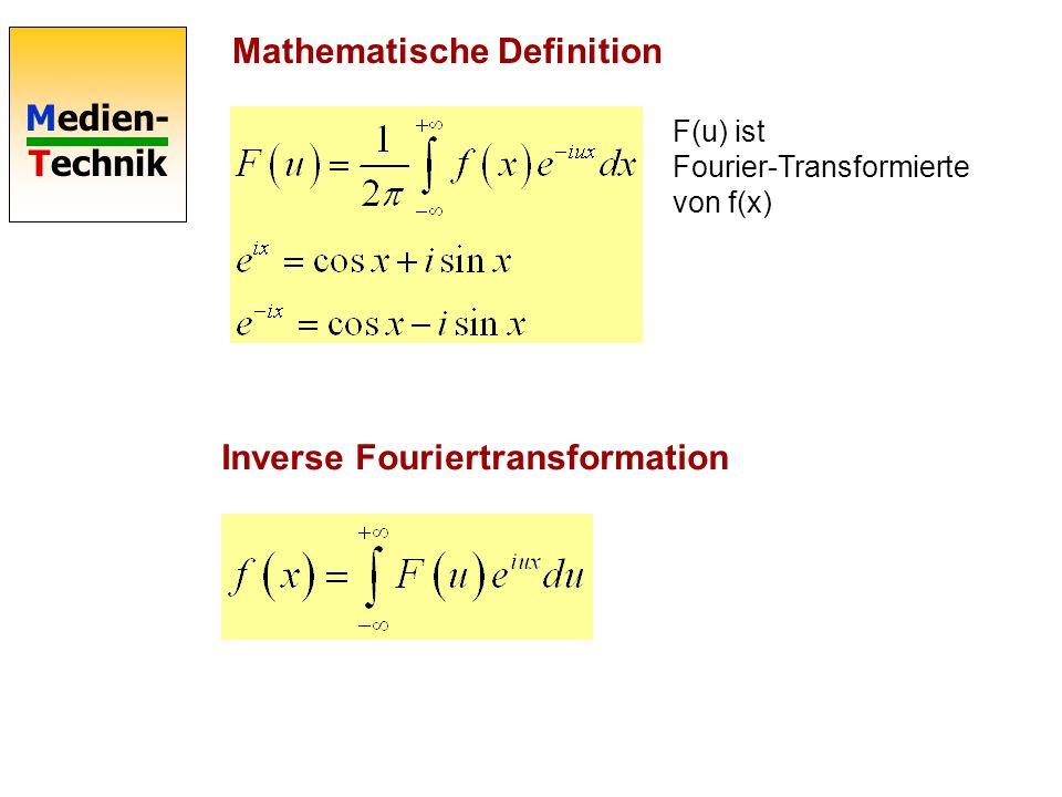 Medien- Technik Eigenschaften Fouriertransformation Transformation in den Frequenzraum Fourier-Transformation berechnet das Spektrum Die Fouriertransf