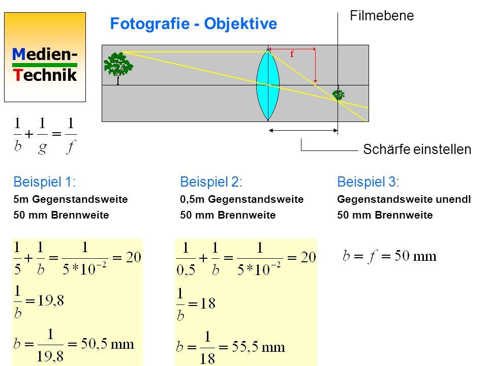 Medien- Technik Fotografie - Objektive Beispiel 4: 5m Gegenstandsweite 3m Gegenstandshöhe 50 mm Brennweite Beispiel 5: Abbildung 1:1 Beispiel 6: Bildhöhe soll 12 mm werden bei g=5m Vergrößerung: G=Gegenstandsgröße, B=Bildgröße