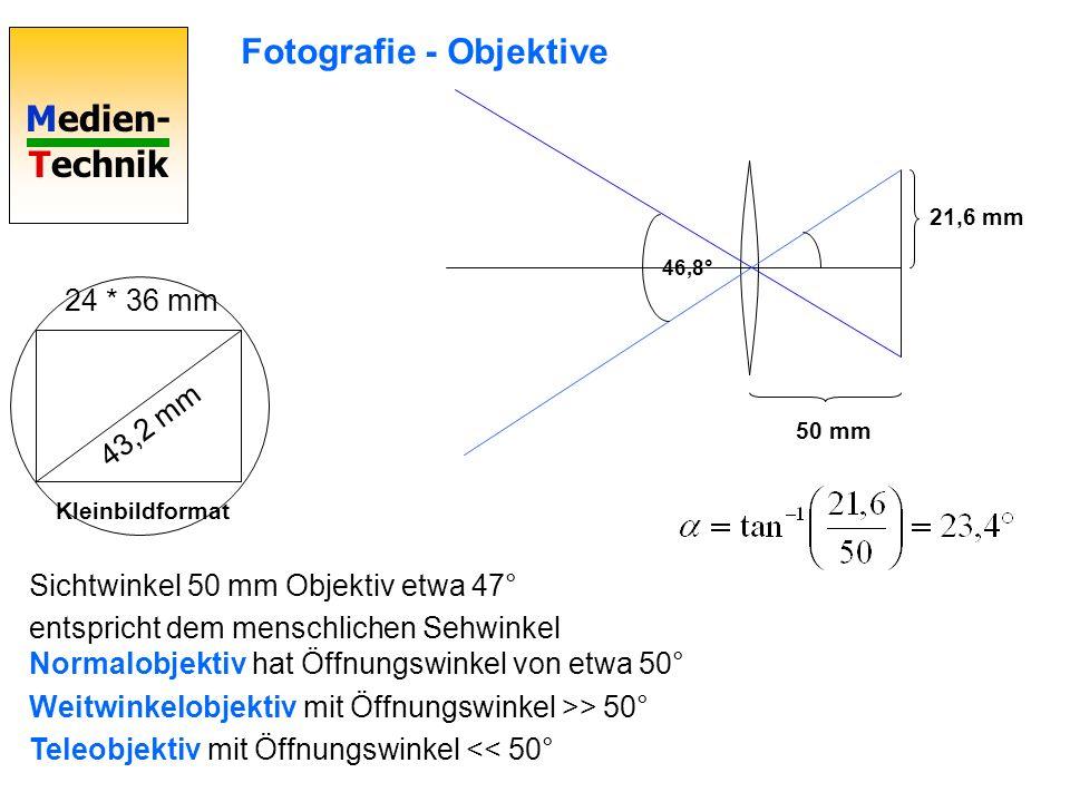 Medien- Technik 46,8° Sichtwinkel 50 mm Objektiv etwa 47° entspricht dem menschlichen Sehwinkel Normalobjektiv hat Öffnungswinkel von etwa 50° Weitwinkelobjektiv mit Öffnungswinkel >> 50° Teleobjektiv mit Öffnungswinkel << 50° 24 * 36 mm 43,2 mm Kleinbildformat 21,6 mm 50 mm Fotografie - Objektive