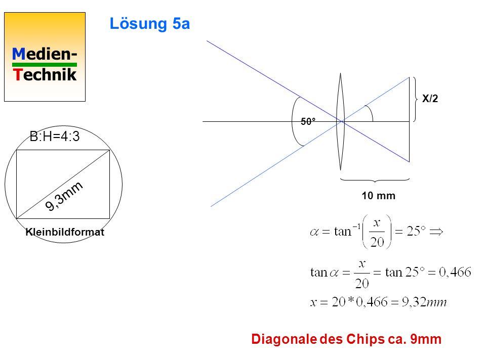 Medien- Technik 50° B:H=4:3 9,3mm Kleinbildformat X/2 10 mm Lösung 5a Diagonale des Chips ca. 9mm