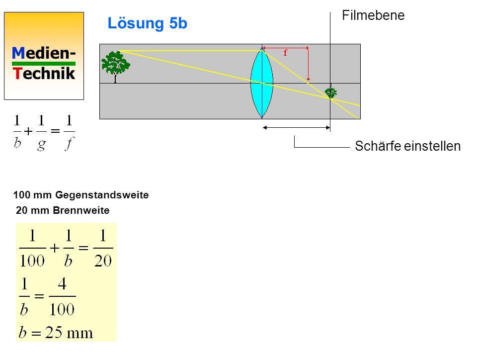 Medien- Technik Lösung 5b 100 mm Gegenstandsweite 20 mm Brennweite Schärfe einstellen Filmebene