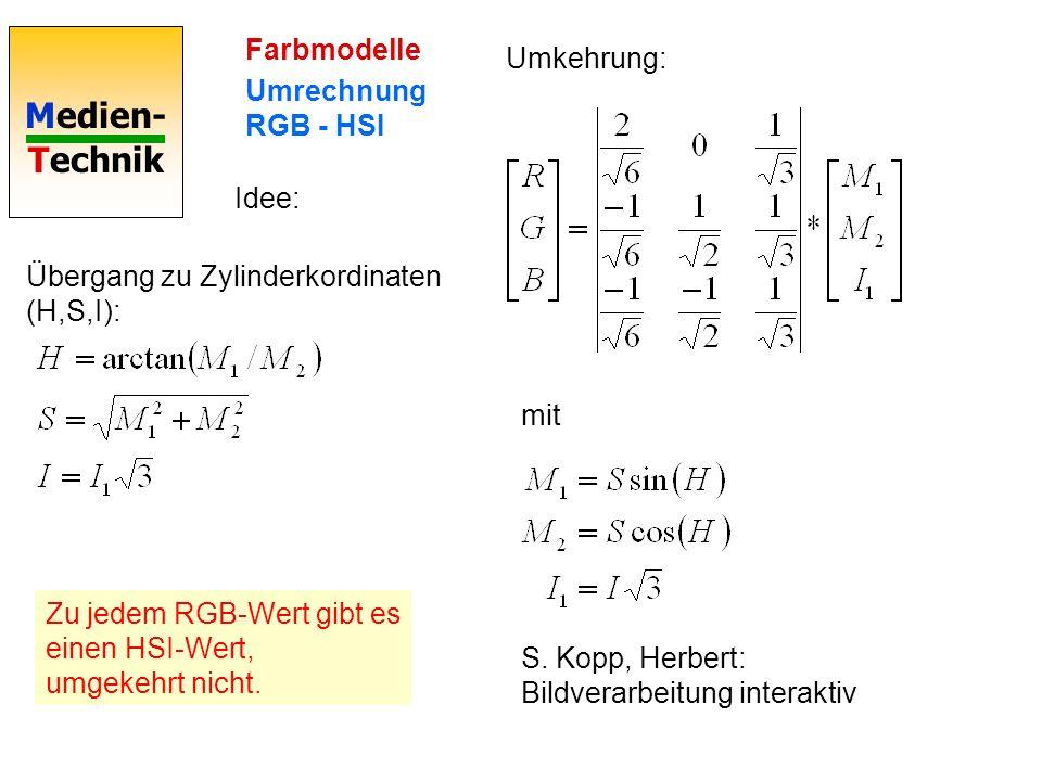 Medien- Technik Farbmodelle Umrechnung RGB - HSI Idee: Übergang zu Zylinderkordinaten (H,S,I): Umkehrung: mit S. Kopp, Herbert: Bildverarbeitung inter
