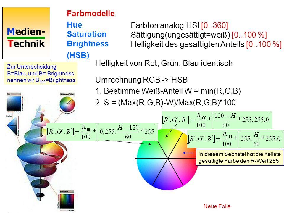 Medien- Technik Farbmodelle Hue Saturation Brightness (HSB) Farbton analog HSI [0..360] Sättigung(ungesättigt=weiß) [0..100 %] Helligkeit des gesättig
