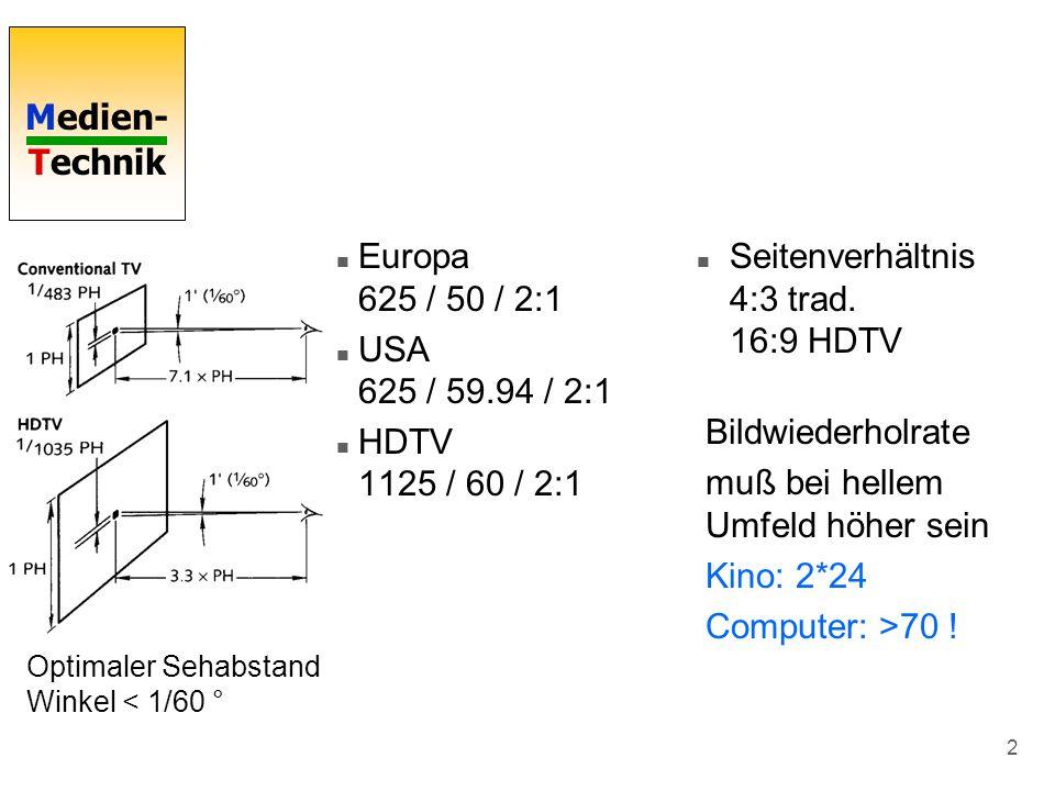 Medien- Technik 2 n Seitenverhältnis 4:3 trad. 16:9 HDTV Optimaler Sehabstand Winkel < 1/60 ° n Europa 625 / 50 / 2:1 n USA 625 / 59.94 / 2:1 n HDTV 1
