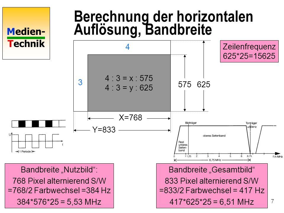 Medien- Technik 8 Zusammenfassung PAL-SW n 50/2 Bilder pro Sekunde, interlaced n 625 Zeilen, davon 575 sichtbar n Horizontale Zeilenfrequenz 625*25 =15625 n Digitale Auflösung Einzelbild: 768*576 n Digitale Auflösung Gesamtbild 833*625 n Bandbreite = 6,51 MHz n Tonträger bei 6,75 MHz n Kanalbreite 8 MB