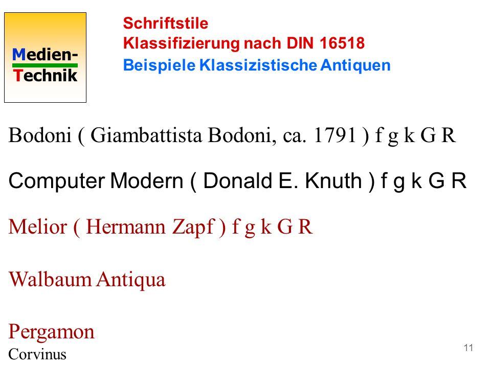 Medien- Technik 11 Schriftstile Klassifizierung nach DIN 16518 Beispiele Klassizistische Antiquen Bodoni ( Giambattista Bodoni, ca. 1791 ) f g k G R C