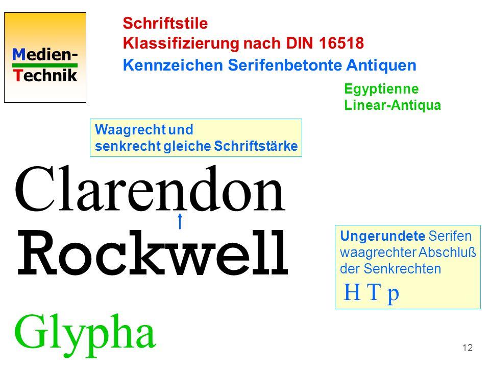 Medien- Technik 12 Schriftstile Klassifizierung nach DIN 16518 Kennzeichen Serifenbetonte Antiquen Clarendon Waagrecht und senkrecht gleiche Schriftst