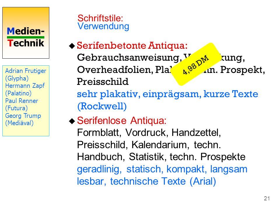 Medien- Technik 21 Serifenbetonte Antiqua: Gebrauchsanweisung, Verpackung, Overheadfolien, Plakat, techn. Prospekt, Preisschild sehr plakativ, einpräg