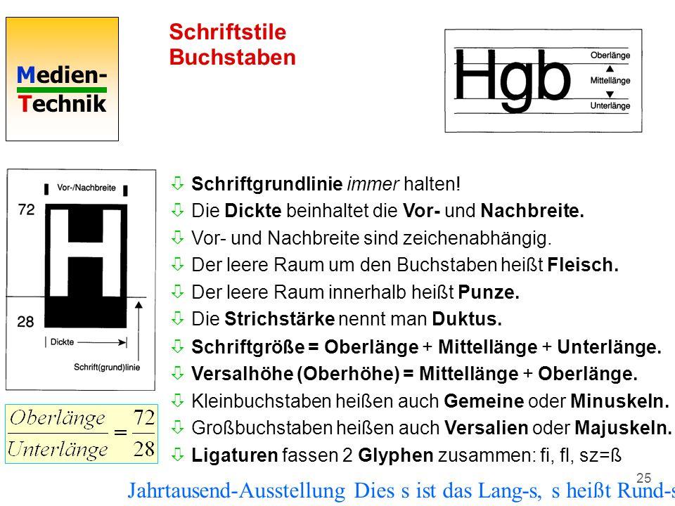 Medien- Technik 25 Schriftstile Buchstaben òSchriftgröße = Oberlänge + Mittellänge + Unterlänge. òVersalhöhe (Oberhöhe) = Mittellänge + Oberlänge. òKl