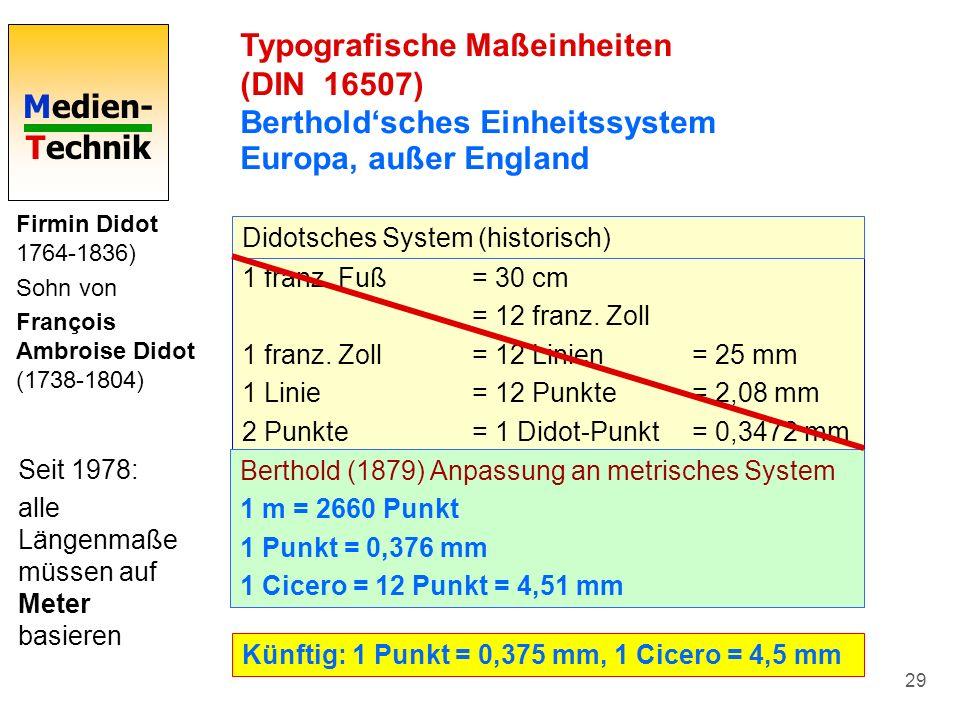 Medien- Technik 29 Typografische Maßeinheiten (DIN 16507) Bertholdsches Einheitssystem Europa, außer England Firmin Didot 1764-1836) Sohn von François