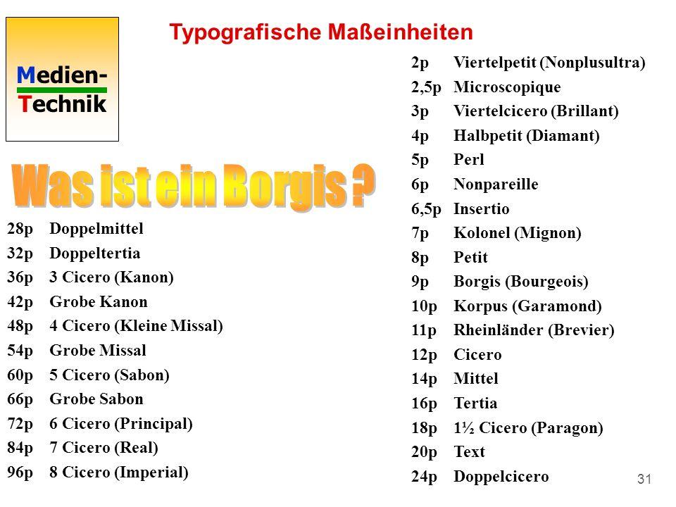 Medien- Technik 31 Typografische Maßeinheiten 2pViertelpetit (Nonplusultra) 2,5pMicroscopique 3pViertelcicero (Brillant) 4pHalbpetit (Diamant) 5pPerl