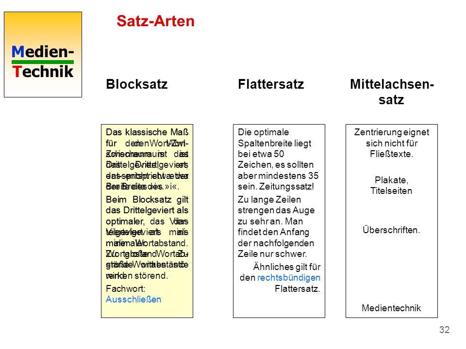Medien- Technik 32 Satz-Arten Blocksatz Das klassische Maß für den Wort- Zwischenraum ist das Drittelgeviert; das entspricht etwa der Breite des »i«.