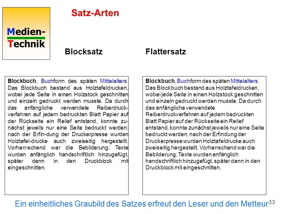 Medien- Technik 33 Satz-Arten Blocksatz Blockbuch, Buchform des späten Mittelalters. Das Blockbuch bestand aus Holztafeldrucken, wobei jede Seite in e