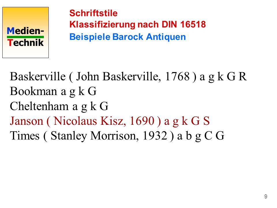 Medien- Technik 9 Schriftstile Klassifizierung nach DIN 16518 Beispiele Barock Antiquen Baskerville ( John Baskerville, 1768 ) a g k G R Bookman a g k