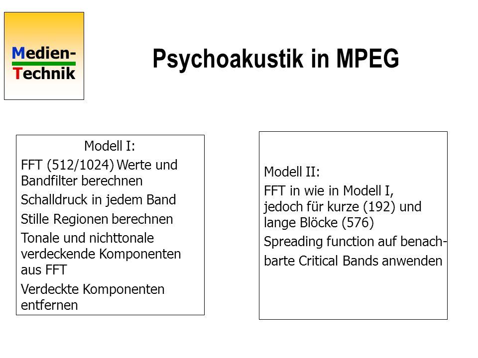 Medien- Technik Psychoakustik in MPEG Modell I: FFT (512/1024) Werte und Bandfilter berechnen Schalldruck in jedem Band Stille Regionen berechnen Tonale und nichttonale verdeckende Komponenten aus FFT Verdeckte Komponenten entfernen Modell II: FFT in wie in Modell I, jedoch für kurze (192) und lange Blöcke (576) Spreading function auf benach- barte Critical Bands anwenden