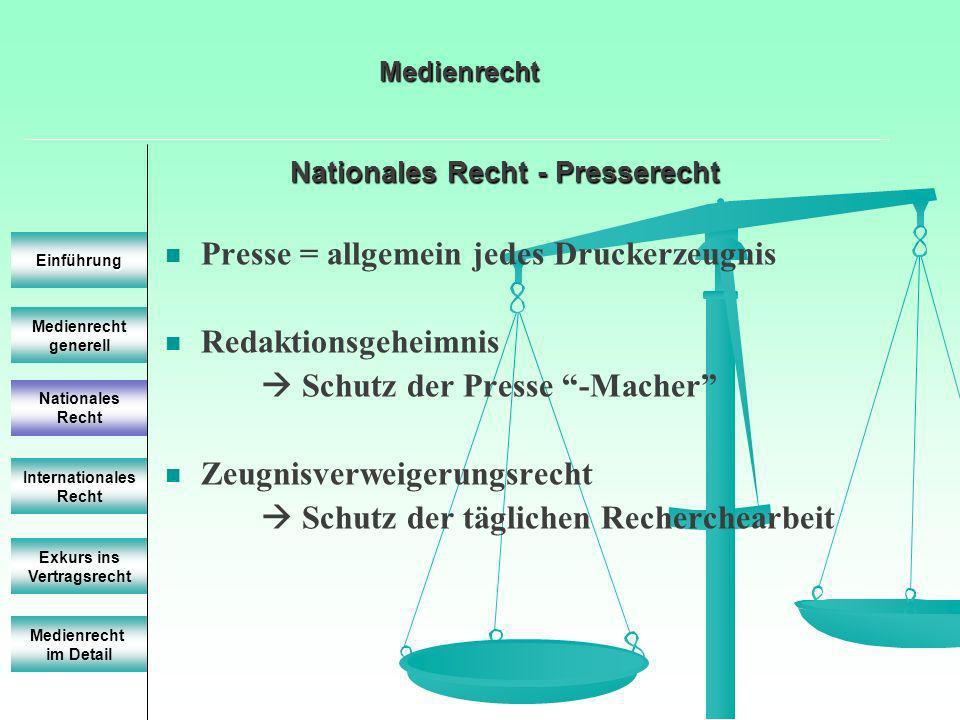 Nationales Recht - Presserecht Medienrecht generell Einführung Nationales Recht Internationales Recht Exkurs ins Vertragsrecht Presse = allgemein jede