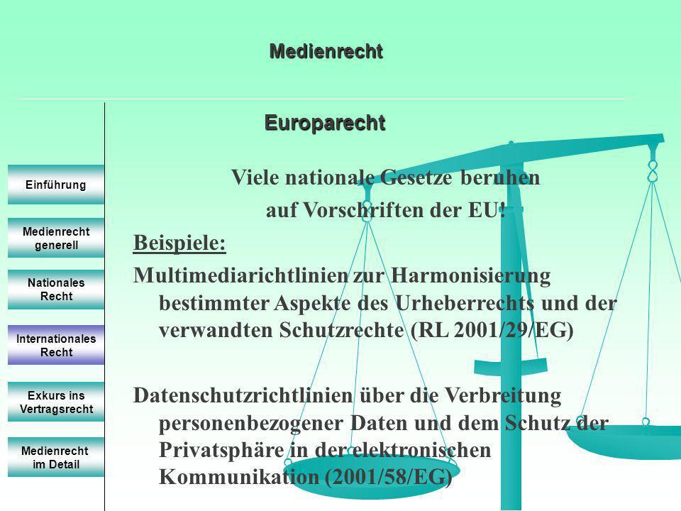 Europarecht Europarecht Medienrecht generell Einführung Nationales Recht Internationales Recht Exkurs ins Vertragsrecht Viele nationale Gesetze beruhe