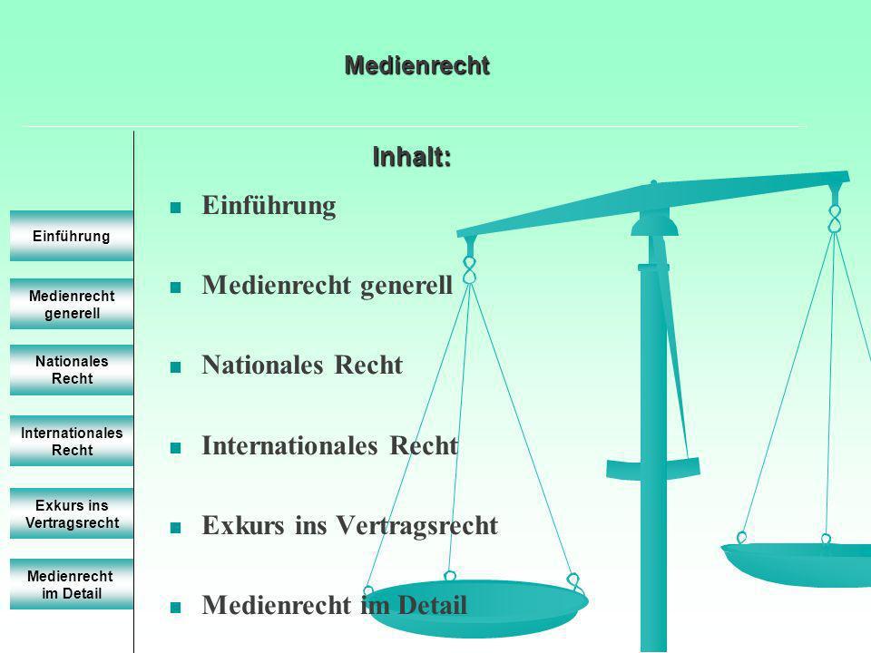 Einführung Medienrecht generell Einführung Nationales Recht Internationales Recht Exkurs ins Vertragsrecht Medienrecht im Detail Medienrecht Bestimmte Strukturen, Grundfunktionen, rechte und Pflichten der Medien und Medienschaffenden festzulegen Kann nicht eindeutig juristisch umschrieben werden Medienrecht ist eine Querschnittsmaterie