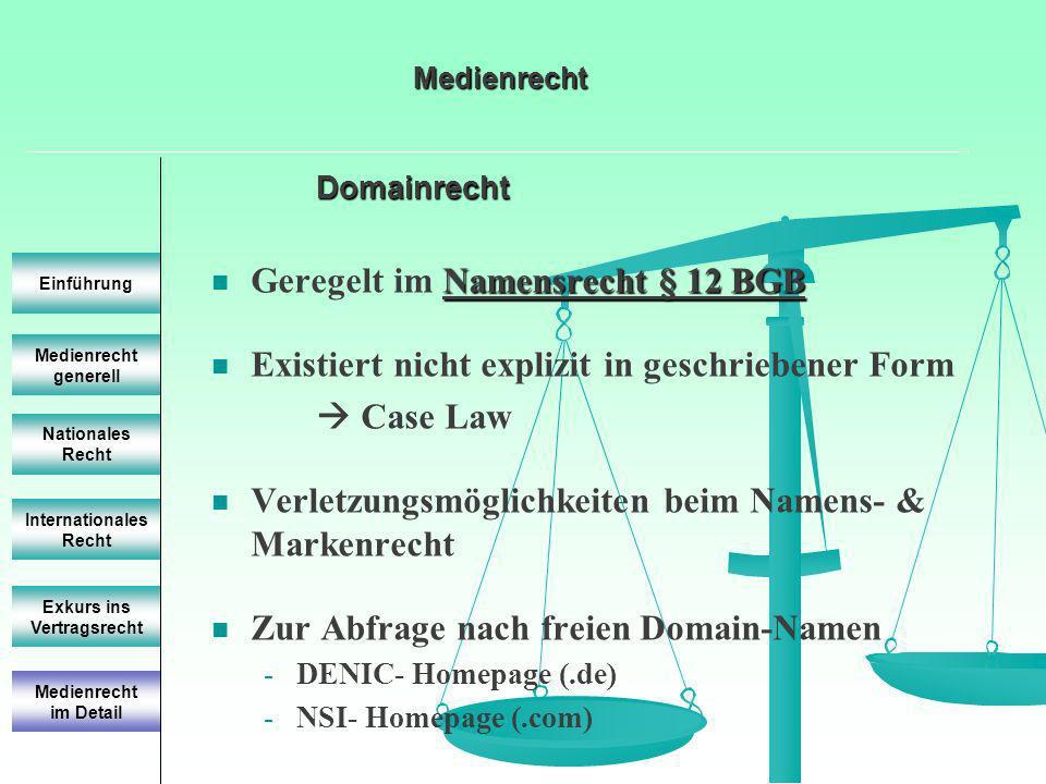 Domainrecht Medienrecht generell Einführung Nationales Recht Internationales Recht Exkurs ins Vertragsrecht Namensrecht § 12 BGB Geregelt im Namensrec
