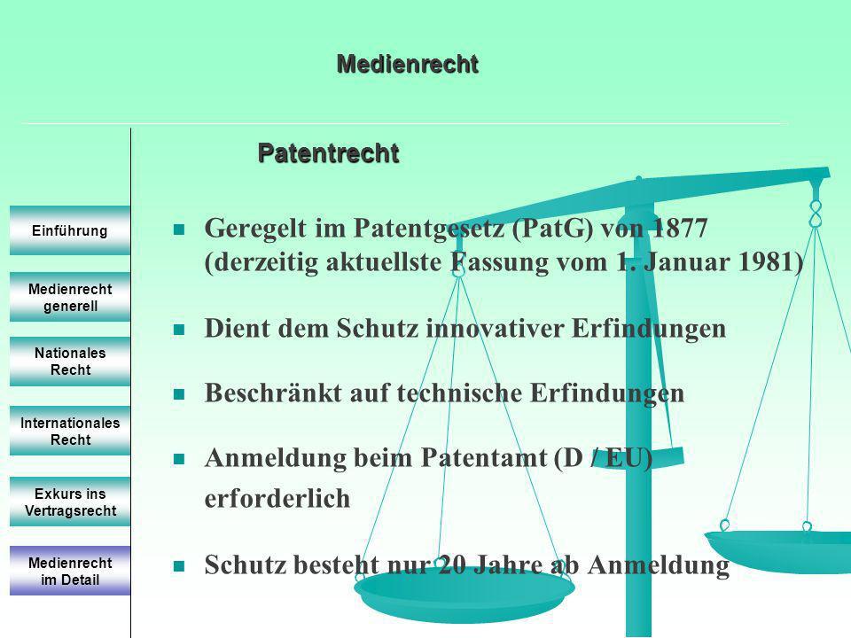 Patentrecht Medienrecht generell Einführung Nationales Recht Internationales Recht Exkurs ins Vertragsrecht Geregelt im Patentgesetz (PatG) von 1877 (