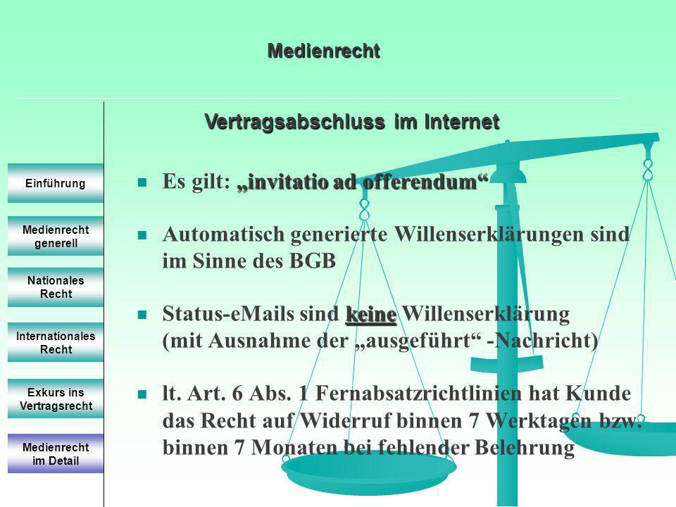 Vertragsabschluss im Internet Medienrecht generell Einführung Nationales Recht Internationales Recht Exkurs ins Vertragsrecht invitatio ad offerendum