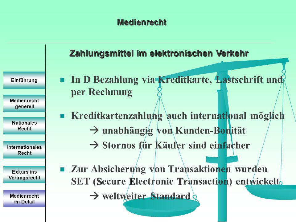 Zahlungsmittel im elektronischen Verkehr Medienrecht generell Einführung Nationales Recht Internationales Recht Exkurs ins Vertragsrecht In D Bezahlun