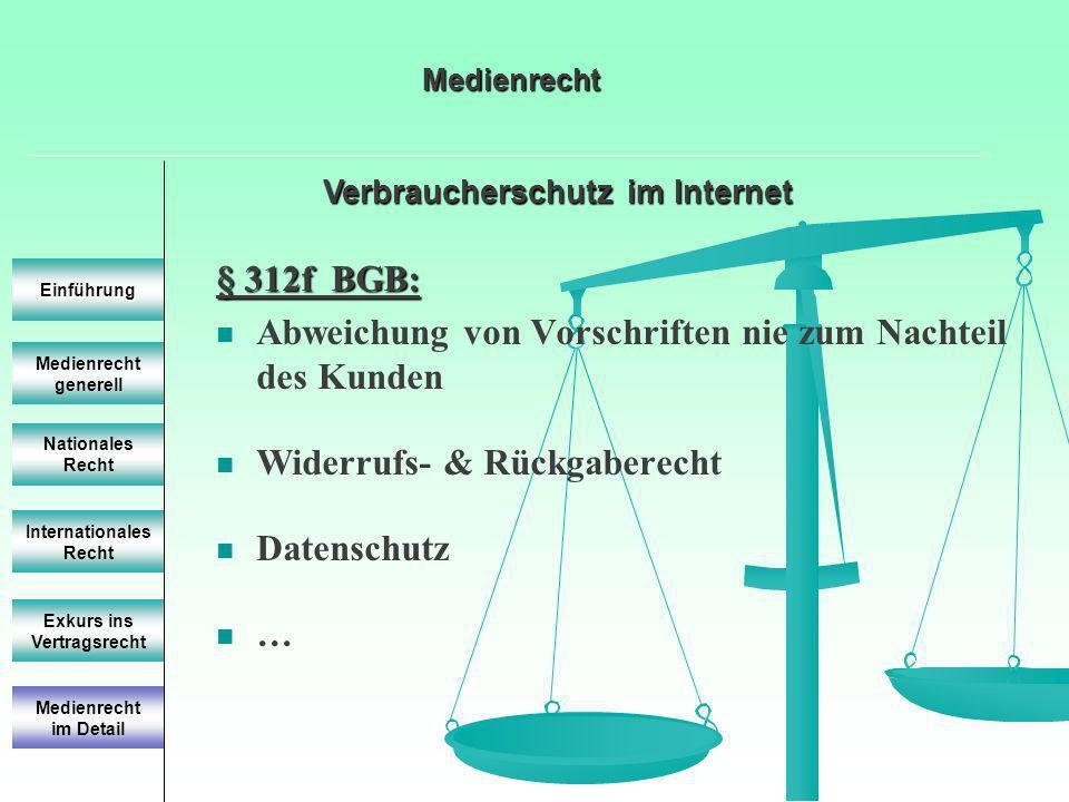 Verbraucherschutz im Internet Medienrecht generell Einführung Nationales Recht Internationales Recht Exkurs ins Vertragsrecht § 312f BGB: Abweichung von Vorschriften nie zum Nachteil des Kunden Widerrufs- & Rückgaberecht Datenschutz … Medienrecht im Detail Medienrecht