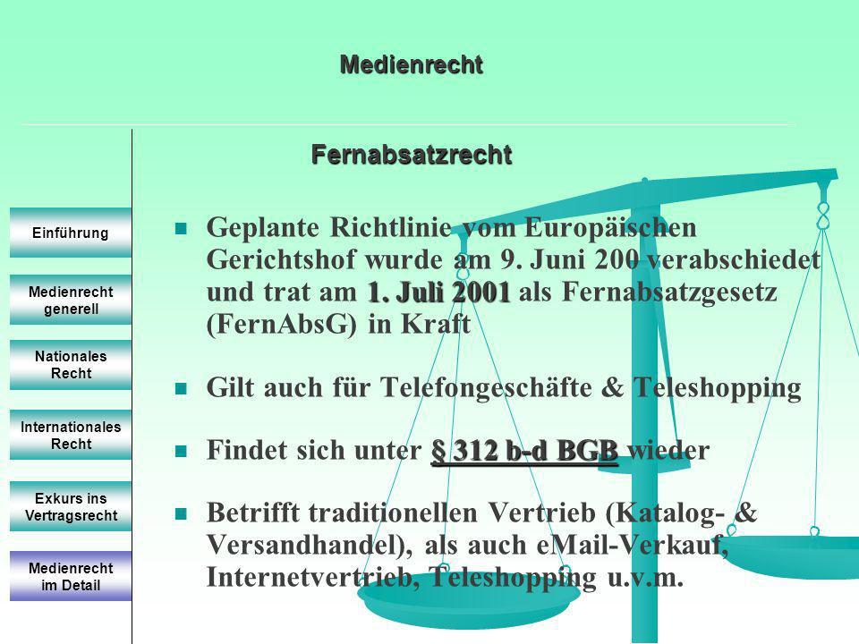 Fernabsatzrecht Fernabsatzrecht Medienrecht generell Einführung Nationales Recht Internationales Recht Exkurs ins Vertragsrecht 1. Juli 2001 Geplante