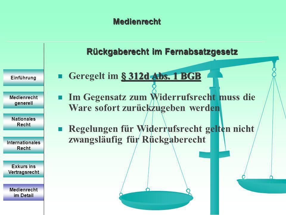 Rückgaberecht im Fernabsatzgesetz Medienrecht generell Einführung Nationales Recht Internationales Recht Exkurs ins Vertragsrecht § 312d Abs. 1 BGB Ge
