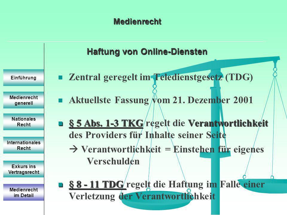 Haftung von Online-Diensten Medienrecht generell Einführung Nationales Recht Internationales Recht Exkurs ins Vertragsrecht Zentral geregelt im Teledienstgesetz (TDG) Aktuellste Fassung vom 21.