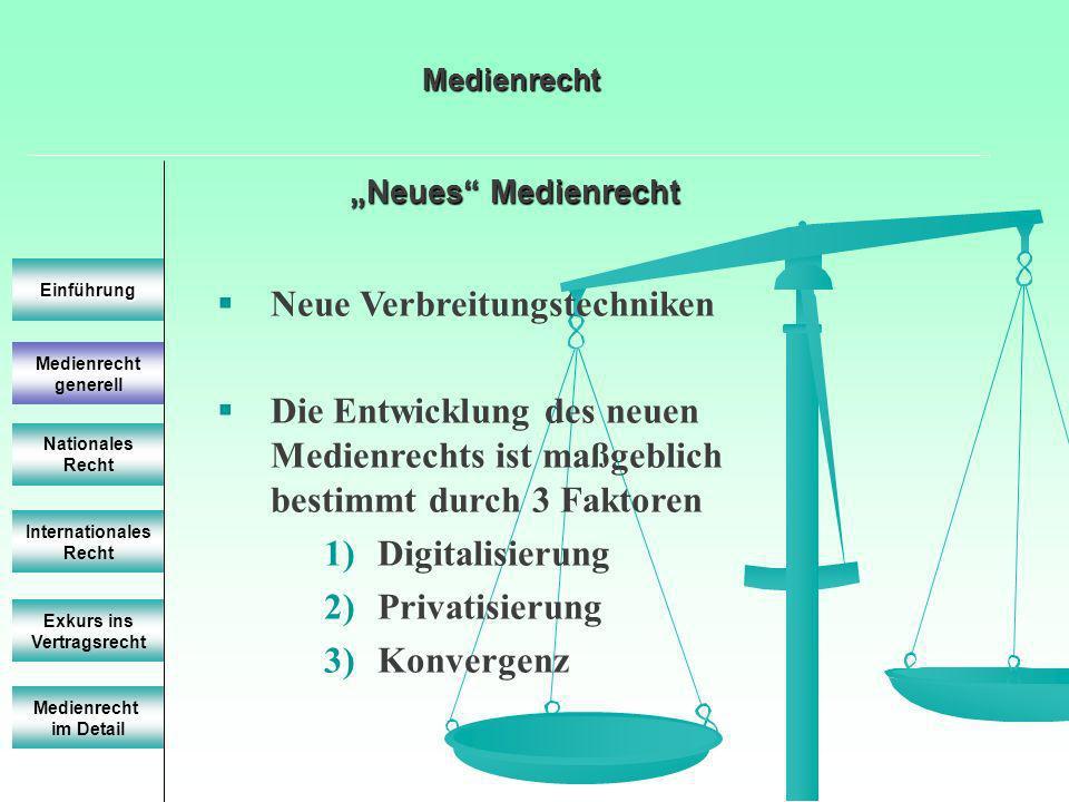 Neues Medienrecht Neues Medienrecht Einführung Internationales Recht Exkurs ins Vertragsrecht Neue Verbreitungstechniken Die Entwicklung des neuen Med