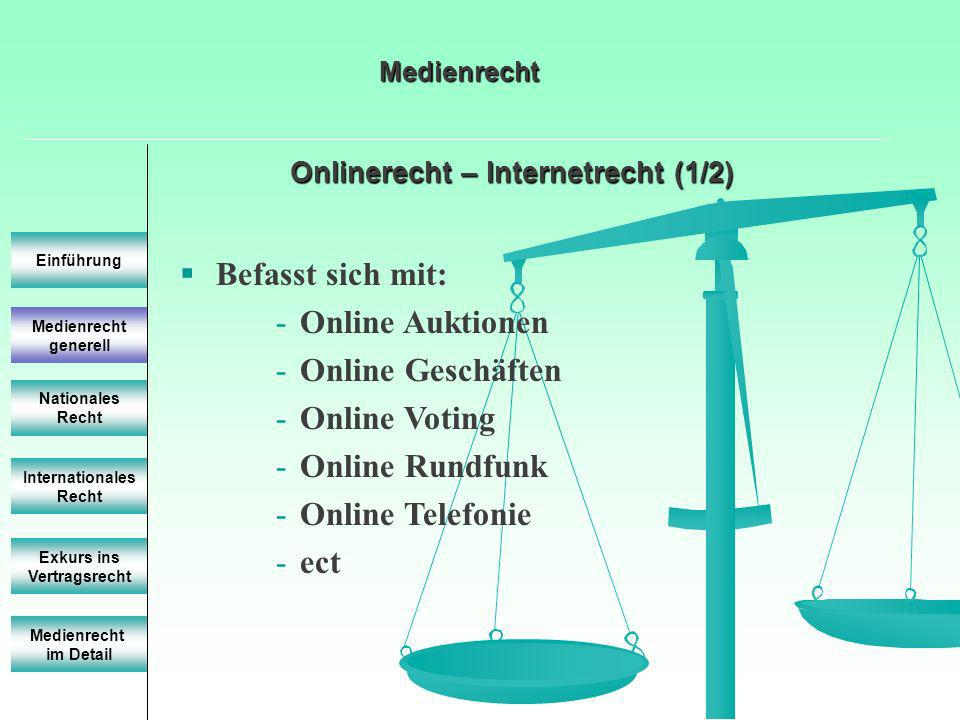 Onlinerecht – Internetrecht (1/2) Einführung Internationales Recht Exkurs ins Vertragsrecht Befasst sich mit: -Online Auktionen -Online Geschäften -Online Voting -Online Rundfunk -Online Telefonie -ect Medienrecht im Detail Medienrecht Nationales Recht Medienrecht generell