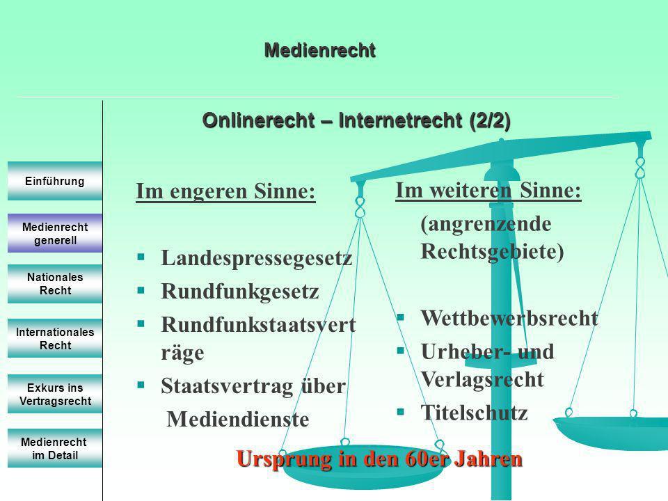 Onlinerecht – Internetrecht (2/2) Einführung Internationales Recht Exkurs ins Vertragsrecht Medienrecht im Detail Medienrecht Im engeren Sinne: Landes
