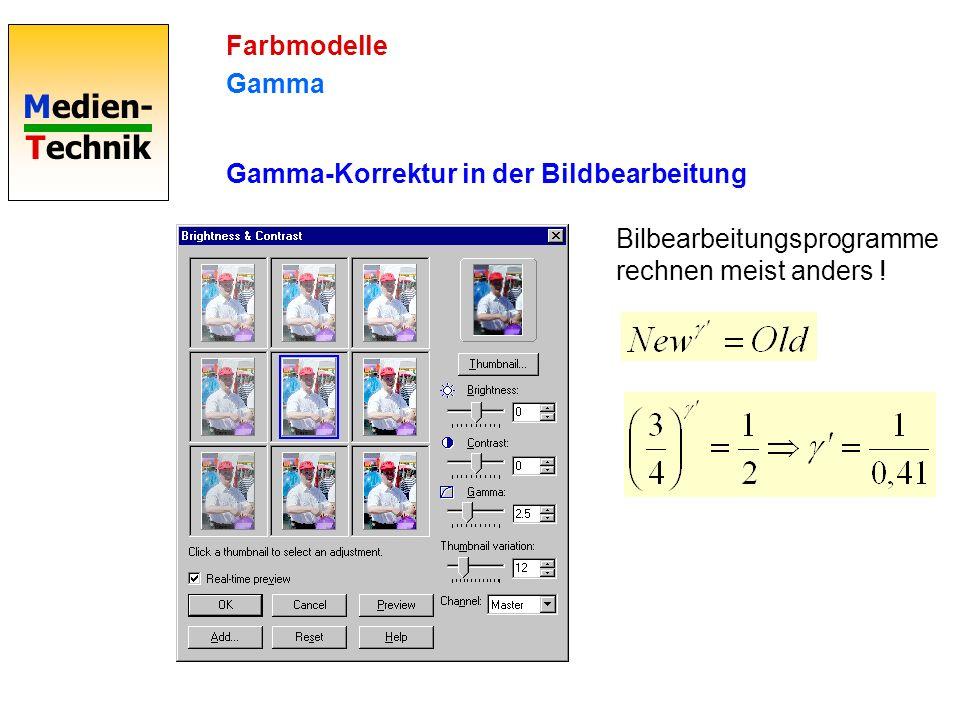 Medien- Technik Farbmodelle Gamma Gamma-Korrektur in der Bildbearbeitung Bilbearbeitungsprogramme rechnen meist anders !