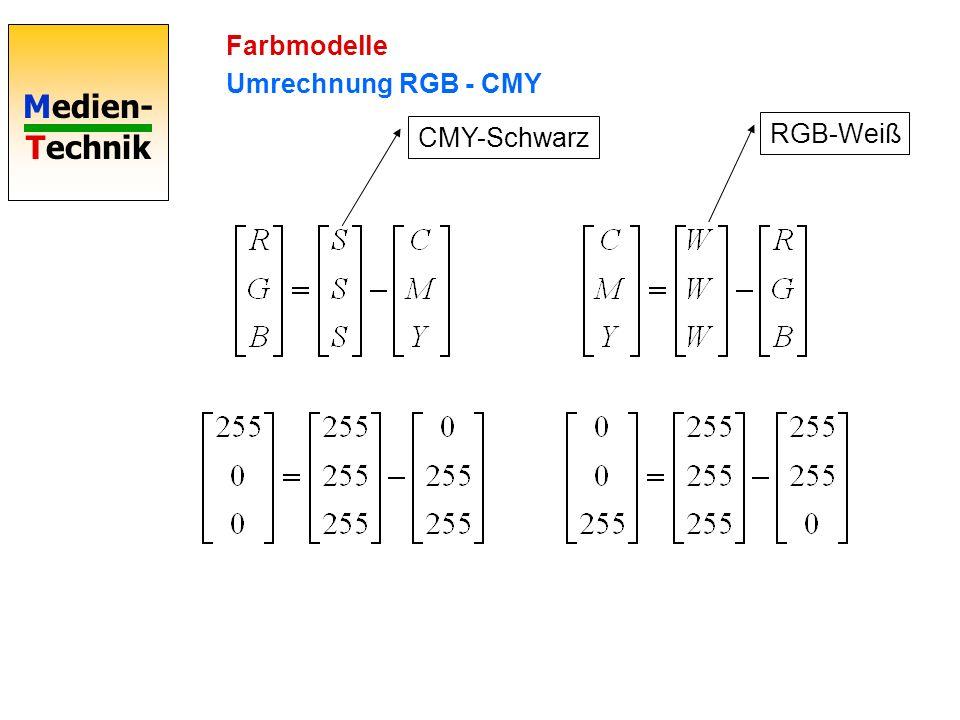 Medien- Technik Farbmodelle Umrechnung RGB - CMY CMY-Schwarz RGB-Weiß