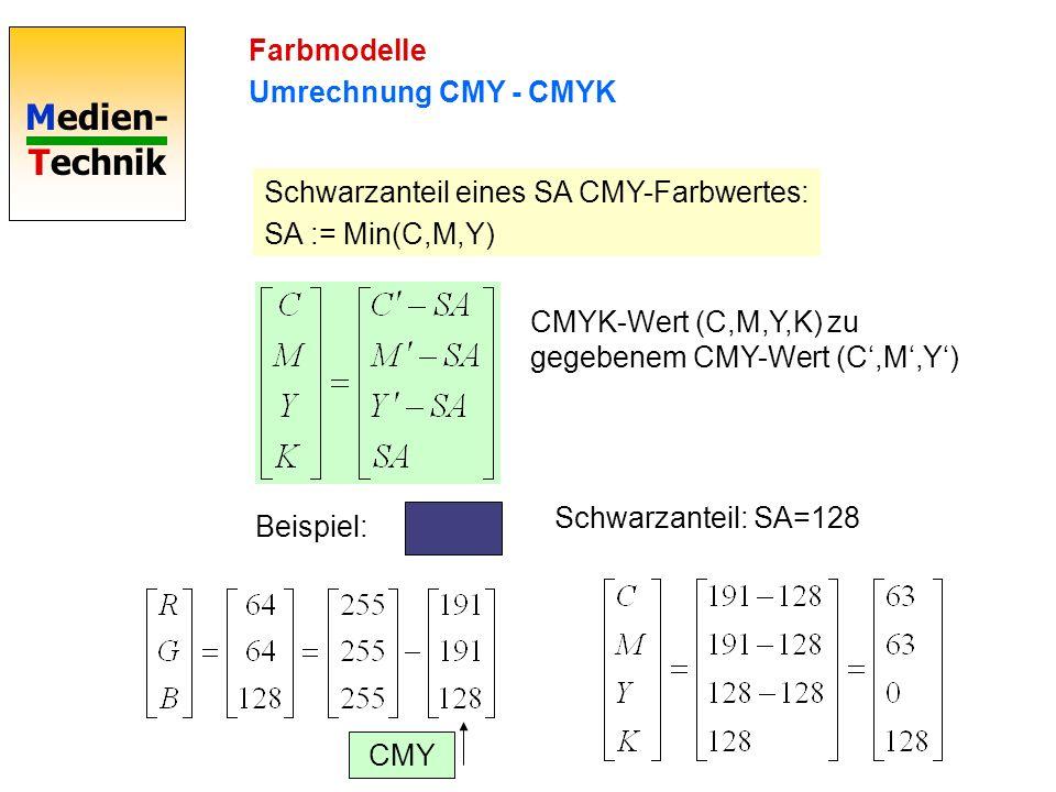 Medien- Technik Farbmodelle Umrechnung CMY - CMYK Schwarzanteil eines SA CMY-Farbwertes: SA := Min(C,M,Y) CMYK-Wert (C,M,Y,K) zu gegebenem CMY-Wert (C