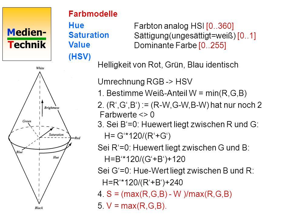 Medien- Technik Farbmodelle Hue Saturation Value (HSV) Farbton analog HSI [0..360] Sättigung(ungesättigt=weiß) [0..1] Dominante Farbe [0..255] Helligk